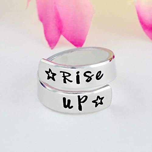 Amazon com: Rise Up - Hand Stamped Aluminum Spiral Wrap Ring