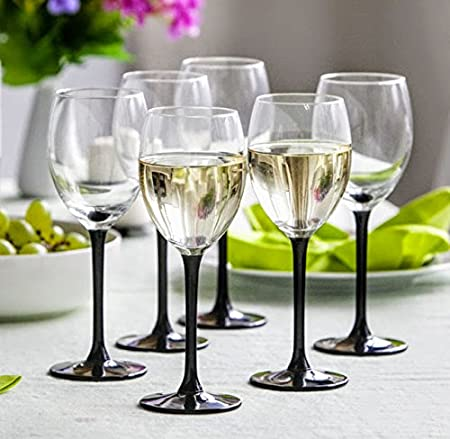 Lot de 6 verres à vin blanc 250 ml Noir Longue Tige avec coffret cadeau