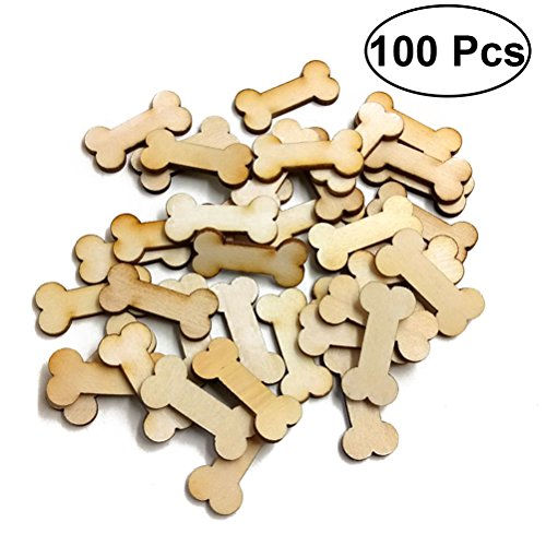 ULTNICE 100pcs Dog Bone Embellishments Blank Wooden Craft - Dog Scrapbooking Tags