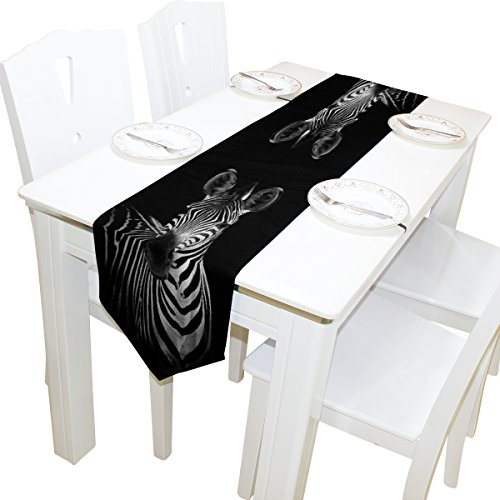 ALAZA Table Runner Home Decor, Hipster Black Zebra Look Table Cloth Runner Coffee Mat for Wedding Party Banquet Decoration 13 x 90 inches