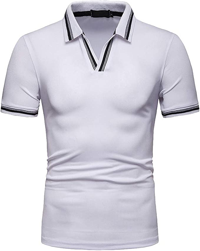 MOTOCO Camisa de Hombre Top Verano Cuello a Rayas Manga Corta ...