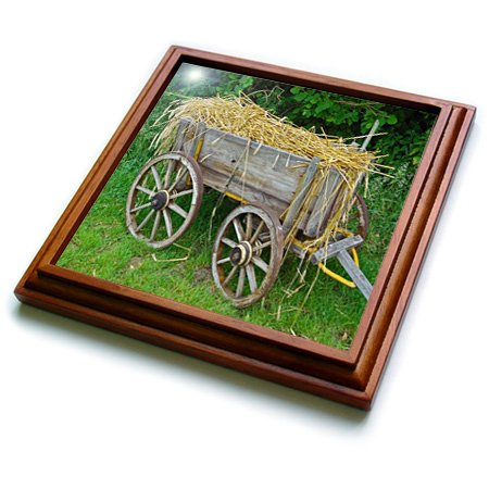 - 3dRose trv_210554_1 Print of Old Country Hay Wagon Trivet with Ceramic Tile, 8 by 8