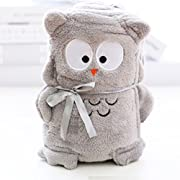CW Premium Multi purpose cute animal theme Baby Blanket - Nursing, Cuddle, Comforter, Playmat, Bath Towel baby shower gift - Super soft fleece, unisex (Owl)