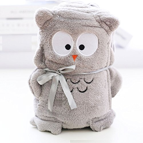 CW Premium Multi purpose cute animal theme Baby Blanket - Nursing, Cuddle, Comforter, Playmat, Bath Towel baby shower gift - Super soft fleece, unisex (Owl) ()