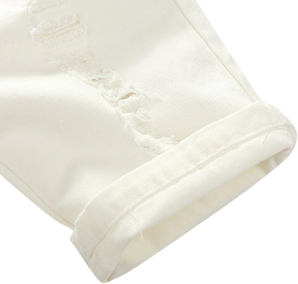 BAOBAOLAI Baby Boy Suit Short Sleeve Flower T-Shirt with Elastic Waist White Hot Holes Shorts Clothes Set