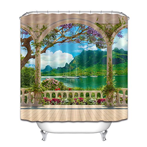 LB Vintage European Palace Backyard Mountain Sea View Shower Curtains for Shower Stall, Garden Scene Bathroom Decor, 70 W x 78 L Shower Window Curtain Waterproof