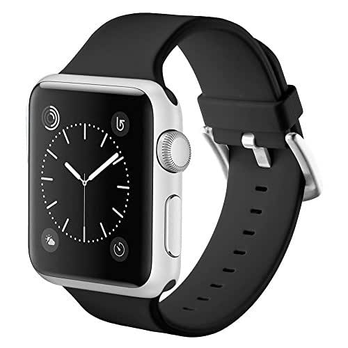 Apple Watch Band 42mm Libra & Gemini Soft Stylish Silicone Sports iWatch Band Replacement Strap with Stainless Steel Metal Clasp for Apple Watch Series 3 Series 2 Series 1 (Black)