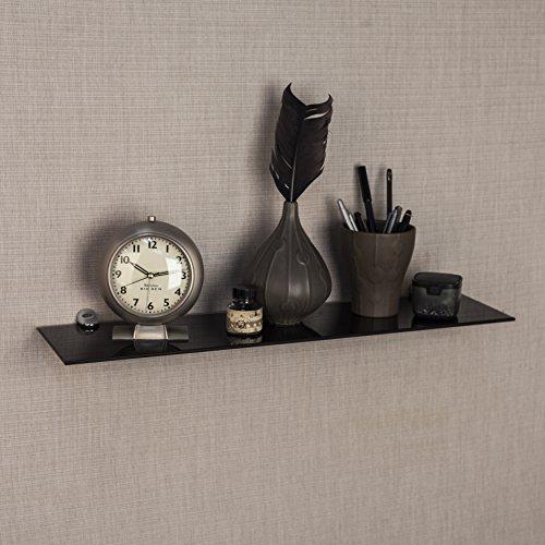 Black Smoke Glass Floating Shelf with Chrome Brackets
