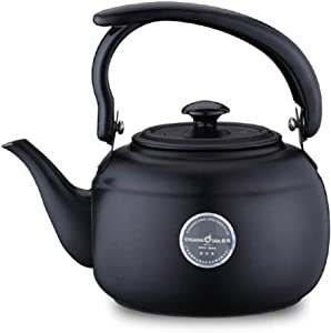Stainless Steel Tea Kettle For Stove Top, Ergonomic Heat-resistant Handle,Small Capacity Teapot For Restaurant Office 1L/black (Color : Black, Size : 1L)