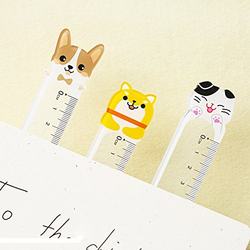Treading - 4pcs/Set Cartoon Cute Animal Plastic Ruler Decoration DIY Transparent Ruler for Kids School Supplies Drawing Supplies