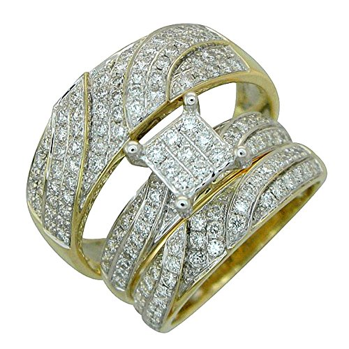 Midwest Jewellery 14K Gold Bridal Wedding Ring Set His and Her Rings Trio Set 1.00ctw Diamonds Princess Cuts and Round ()