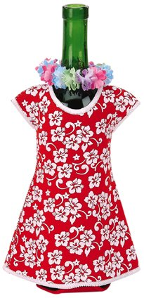 Hawaiian Honolulu Girl Wine Bottle Dress in Red Floral Print with Colorful Lei