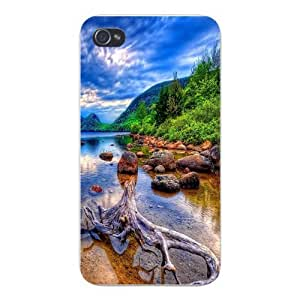 Apple Iphone Custom Case 5 5s Snap on - Beautiful Scenery Lake w/ Hills & Mountain Forest