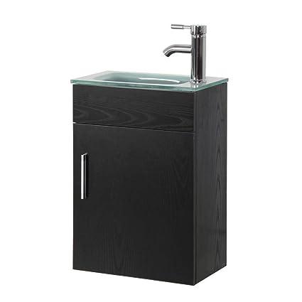 In WallMounted Vanity Set In Black With Tempered Glass Vanity - Lotti bathroom vanity
