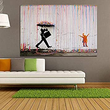 : 50X70cm No Frame Banksy Art Graffiti Bunten Regen-Drucke Auf Leinwand Moderne Leinwand-Malerei-Wand-Kunst-Plakate Und Drucke For Wohnzimmerdekoration Color : FB1045, Size Inch