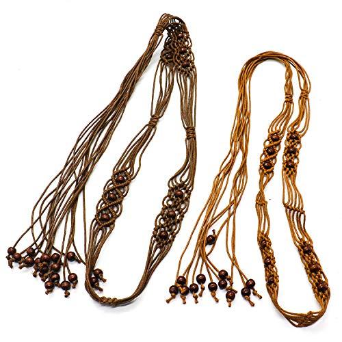 IDS 2 Pack Adjustable Bohemia Woven Belt Wax Rope Decorative Tassel Belts Braided Belt for Women Dress Skirt Sweater and More]()