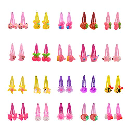 40 Pcs (20 pairs) Girls Cartoon Barrettes Kids Metal Snap Clips Toddlers Hair Clips