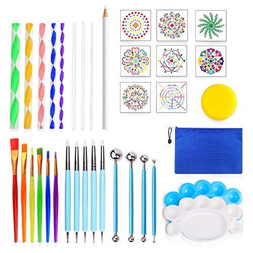 36PCS Mandala Dotting Tools,Rock Painting Kit for Adults,Mandala Painting Tool Kits Mandala Doting Tools Stencil Set for…