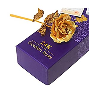 IVYRISE Forever Love 24K Gold Foil Artificial Rose Flower Pretty Long Stem Best Gift for Mothers Day Valentines Day Anniversary Present with Fancy Gift Box, Golden 95
