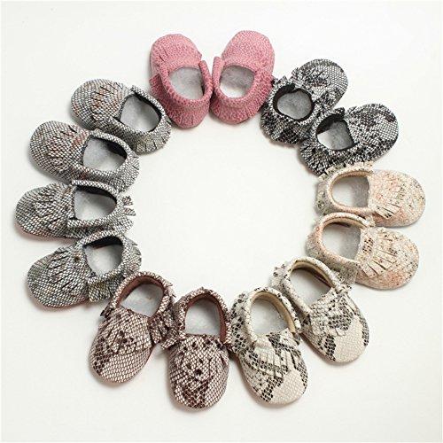 Leap Frog Snake Print Moccasins Boots - Zapatos primeros pasos de Material Sintético para niño rojo vino