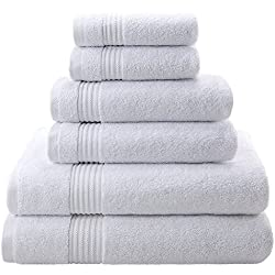 Super Absorbent and Soft Hotel & Spa Quality, 100% Genuine Cotton, 6 Piece Turkish Towel Set for Kitchen and Decorative Bathroom Sets Includes 2 Bath Towels 2 Hand Towels 2 Washcloths, Snow White