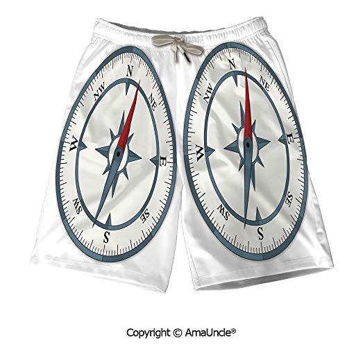Personalized Beach Shorts Boardshorts for Men,Minimalist Design Compass with Win