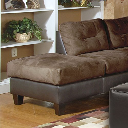 Roundhill furniture marinio chocolate microfiber and faux for Black microfiber sectional sofa with chaise