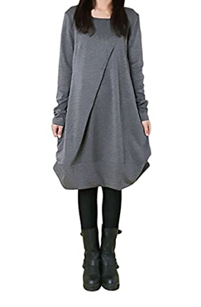 14a6f688ad Landove Robe Oversize Femme Pull Col Rond Manche Longue Automne Hiver Sweat  Robe Unie A-