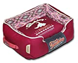 TOUCHDOG '70's Vintage-Tribal' Diamond Patterned Ultra-Plush Rectangular-Boxed Pet Dog Bed Lounge, Large, Sangria Pink