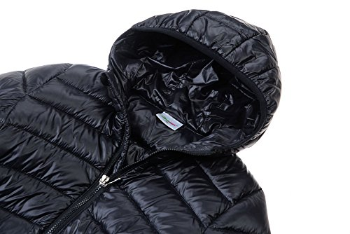 M2C Boys & Girls Ultralight Hooded Duck Down Puffer Packable Jacket 5T Black by M2C (Image #3)