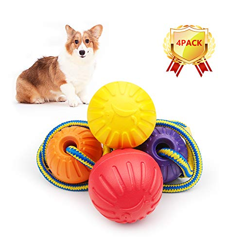 AriTan Rubber Dog Rope Balls Ultra-Light Float Toy (4 Pack), 2.7'' Pet Chew Tooth Cleaning Durable Natural Innovative Toys, Interactive Large Medium Assorted Colors