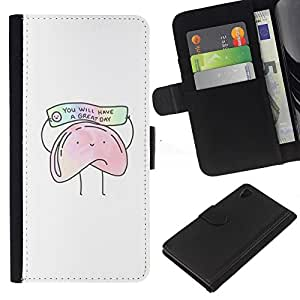 Galletas china Texto Alimentos Blanca- la tarjeta de Crédito Slots PU Funda de cuero Monedero caso cubierta de piel Para Sony Xperia Z3 Plus / Z3+ / Sony E6553 (Not Z3)