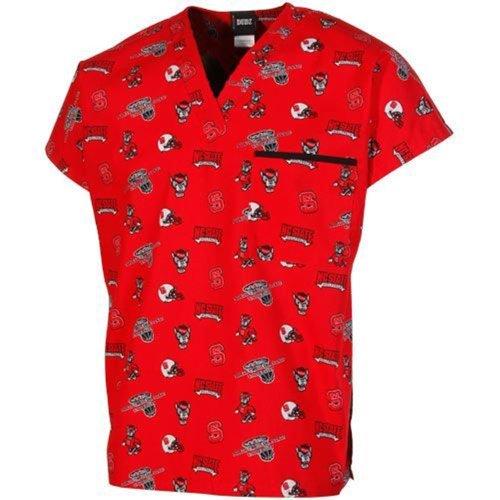 NCAA North Carolina State Wolfpack Printed Basic Scrub Top - Red (Large)