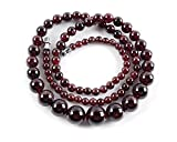 Amandastone 4mm to 10mm Natural Wine Red Garnet Charm Necklace 20''
