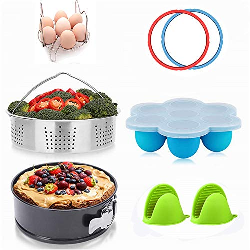 Instant Pot Accessories Set, 8 Pcs Instant Pot Accessories Compatible with 6,8 Qt - Steamer Baskets, SpringForm Pan, Egg Steamer Racks, Egg Bites Mold, 2XSilicone Mitt, 2X Sealing Rings for 5 or 6 Qt ()