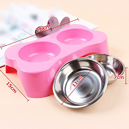 Pet Cat Puppy Heat-Resistant Bowl Stainless Steel Dog Dual Bowl Bone Shape Design Pot Travel Feeder Food Water Dish Pets Suppies Color: Rose Red