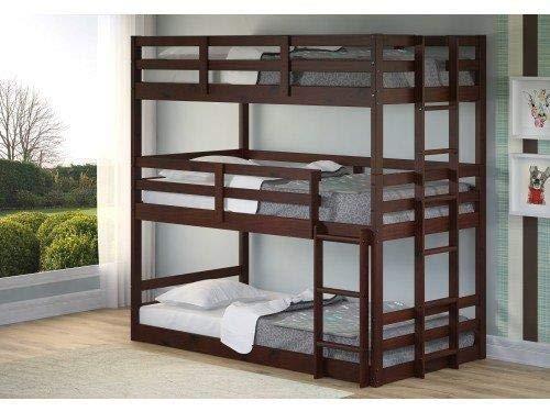 Donco Kids Triple Bunk Bed, Twin Twin Twin, Dark Cappuccino