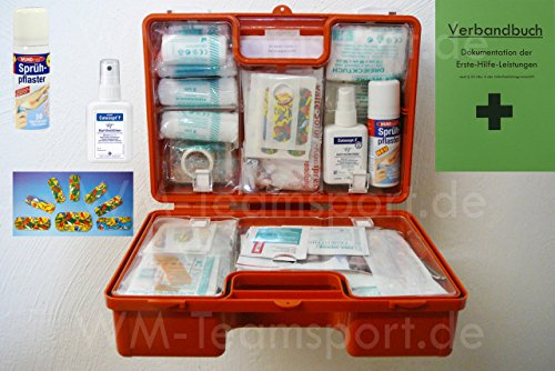 Erste-Hilfe-Koffer KITA M1 incl. Sprüh-Pflaster & Desinfektion nach DIN/EN 13157 für Betriebe + DIN/EN 13164 für KFZ - incl. Verbandbuch & Wundreinigung