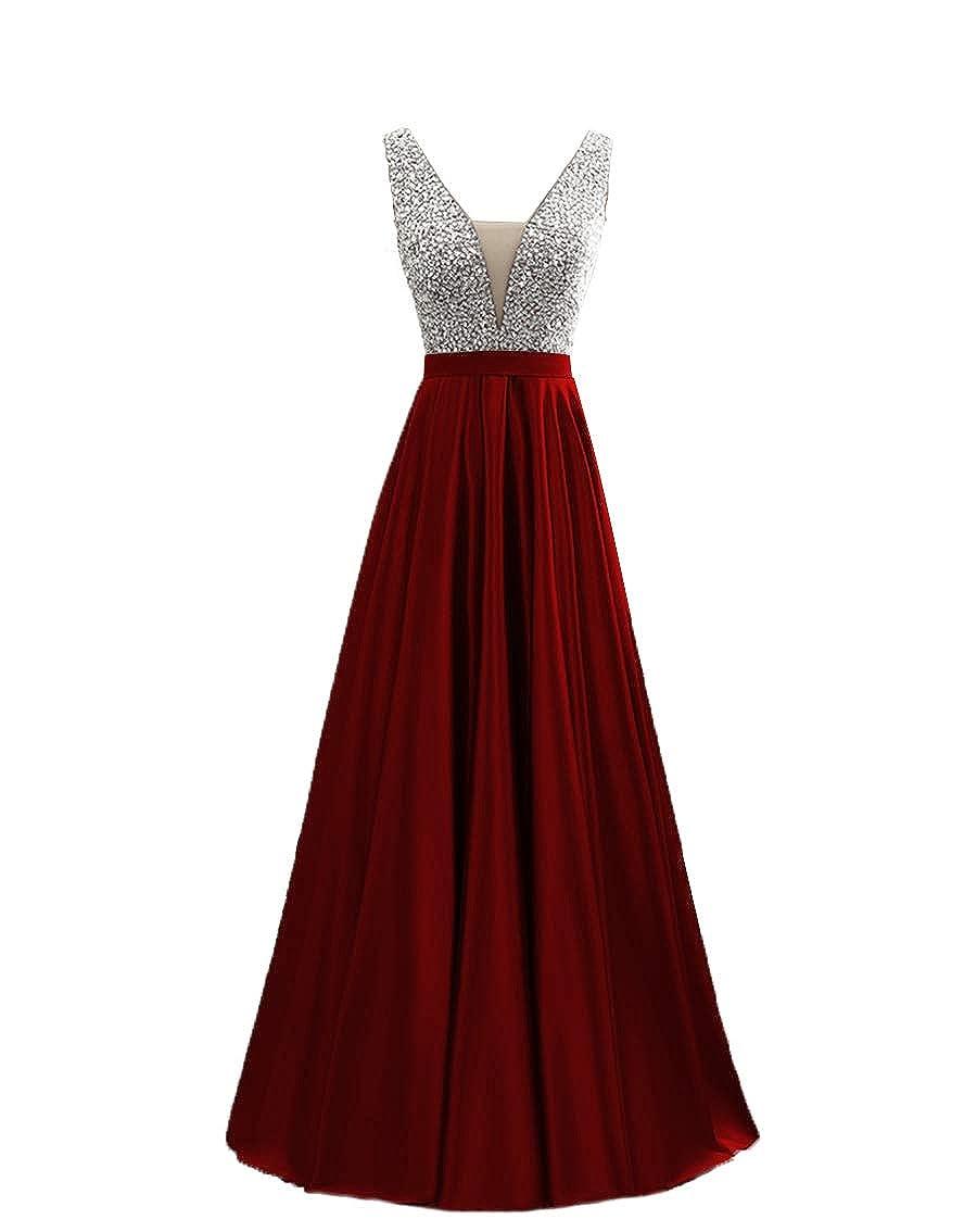 Promworld Womens Crystal V-Neck A-Line Satin Short Cocktail Party Dress