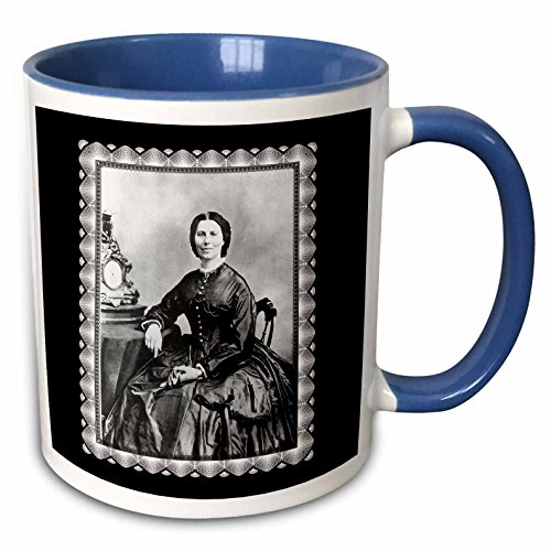 (BLN Vintage Photographs of History and People 1800s - 1900s - Clara Barton taken by Mathew Bracy c.1866 Civil War Era Photo of a Woman seated by an Mantle Clock - 11oz Two-Tone Blue Mug (mug_160768_6))