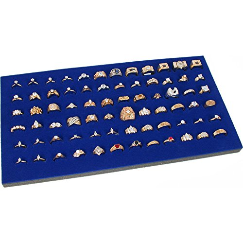 Display Case 72 Blue Ring - FindingKing Ring Display Pad 72 Slot Jewelry Travel Blue Insert New