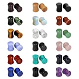 red 2g plugs - Evevil Wood Mixed Stone Plugs 18 Pairs/36 Pieces Set 2g Ear Plugs Ear Tunnels Ear Gauges Double Flared Ear Expander Stretcher Set (6MM)