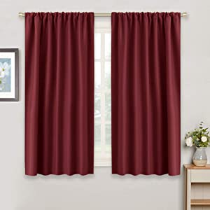 RYB HOME Decor Red Curtain - Room Darkening Windows Treatment Coverings Light Block Rod Pocket Solid Drapes for Bedroom Kids Nursery Cafe, Width 42 x Length 45, Burgundy Red, 2 Panels