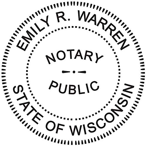 Stamp Pre Cover - Round Notary Stamp for State of Wisconsin- Self Inking Stamp - Top Brand Unit with Bottom Locking Cover for Longer Lasting Stamp - 5 Year Warranty