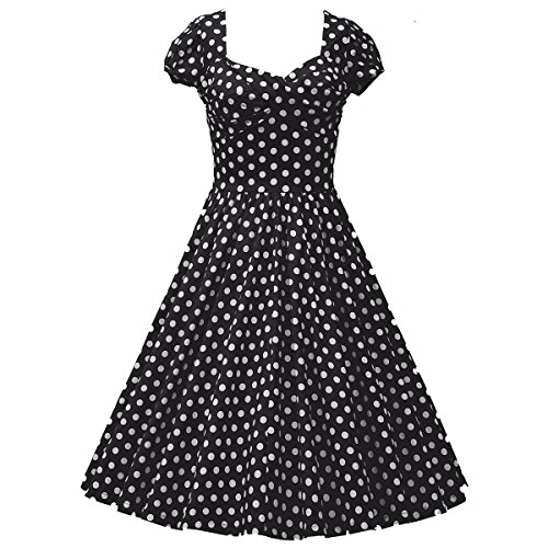 Samtree Womens 1950s Style Short Sleeve Vintage Floral Polka Dot Swing Dress(Asia S,Black)