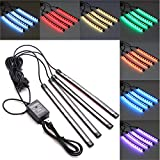 Quaanti 1Set 4pcs 48LED USB Car Interior Music RGB Color LED Strip Light Atmosphere Decorative SMD Neon Lamp (Black)