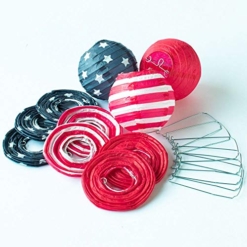 Quasimoon Paperlanternstore.com 4 Inch 4th of July Red, White and Blue Round Paper Lanterns, Even Ribbing, Hanging (10 Pack) Decoration ()