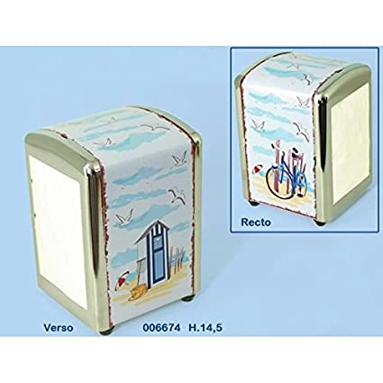 Dispensador de servilletas, diseño de tarjeta postal borde de mar playa Vintage Retro