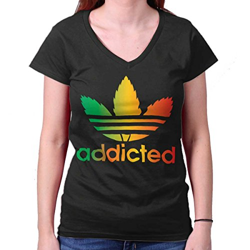 Addicted Adidas Funny Shirt 420 Weed Pot Leaf Peace Sign Cool Junior V-Neck Tee