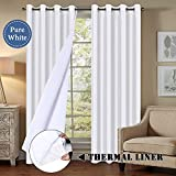 H.VERSAILTEX Blackout Curtains 96' Length for Bedroom, Faux Doupion Silk Panels with Natural Liner Backing - Thermal Insulated & Energy Efficiency Window Panel Drapes Pair, Nickel Grommet, White